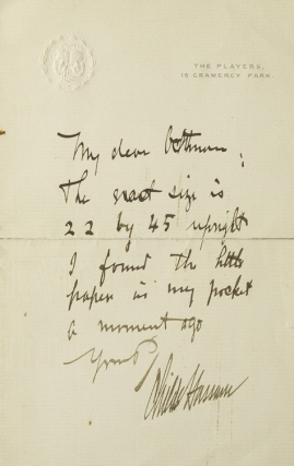 "Autograph Letter Signed (""Childe Hassam""), to Mr. Gettman? Childe Hassam"