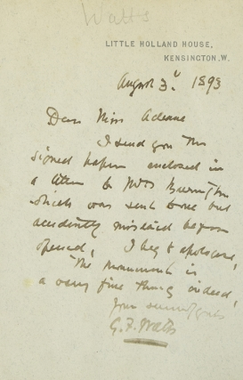 "Autograph Letter Signed (""G.F. Watts""), to Miss Adams, regarding an unidentified monument"