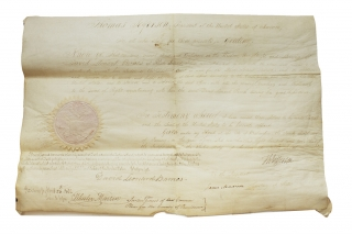 "Document Signed (""Th Jefferson"") as President, Countersigned by James Madison as Secretary of State (""James Madison""). Thomas Jefferson, , James Madison."