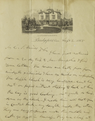 "Autograph Letter Signed (""P.T. Barnum""), to C.J. Haines about horses. Phineas Taylor Barnum."