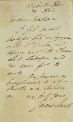 """Autograph Letter Signed (""""James Smith""""), declining an invitation to attend a performance of Shakespeare"""
