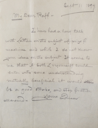 "Autograph Letter Signed (""Edison""), to Norman C. Raff, relating to the early efforts in motion picture exhibition. Thomas Edison."
