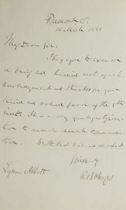 "Autograph Letter Signed (""R.B. Hayes"") to the Reverend Lymon Abbott. Rutherford B. Hayes."