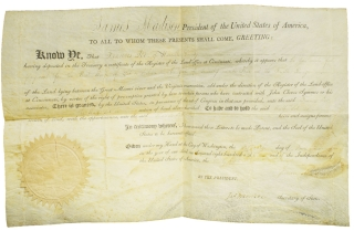 "Document Signed (""James Madison"") as President, land grant for Frances Jer of Hamilton County"