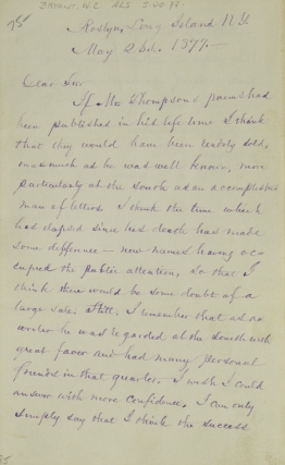"Autograph Letter Signed (""W C Bryant""), to Edward Oldham in North Carolina, regarding the sale of..."