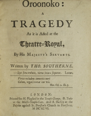 Oroonoko: A Tragedy as it is Acted at the Theatre-Royal, by His Majesty's Servants