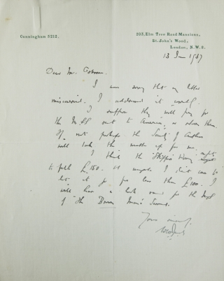 "Autograph Letters Signed ""W.W. Jacobs"" to ""Mr. Osborne"" regarding selling the manuscripts for The..."