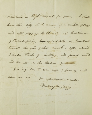 "Autograph Letter Signed (""your affectionate uncle / Washington Irving""), to William Irving Dodge"