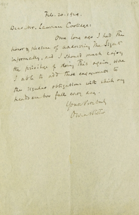 ALS. To Mr. Lawrence Coolidge of the Signet Society of Harvard College about speaking there. Owen...