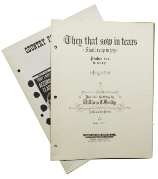 "Signed Sheet Music ""They that sow in tears (shall reap in joy). William C. Handy."