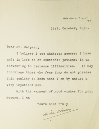 "Typed letter signed ""Arthur Pinero"" to ""Mr. Halpern"" (Seymour Halpern) in response to Halpern's..."