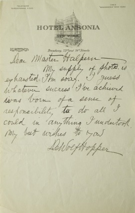 "Autograph letter signed ""DeWolf Hopper"" to ""Master Halpern"" (Seymour Halpern) in response to Halpern's inquiry regarding the key to success in life. Casey at the Bat, William DeWolf Hopper."