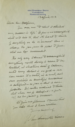 "Autograph letter signed ""John Livingston Lowes"" to ""Mr. Halpern"" (Seymour Halpern) in response to..."