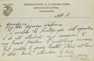 "Autograph Note, Signed ""B.H. Fukker,"" to Seymour Halpern, in response to Halpern's inquiry regarding the keys to success. US Marine Corps, General Ben Hebard Fuller."
