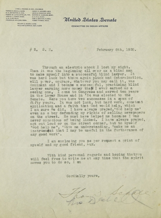 "Typed letter signed ""Thos. D. Schall"" (Thomas D. Schall) to ""S.H."" (Seymour Halpern) in response..."