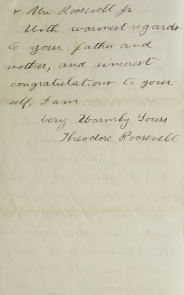 """Autograph Letter Signed (""""Theodore Roosevelt""""), to Harriet Douglas Robinson (""""Dear Missy""""), congratulating her on her engagement to Henry Bazeley Wolryche-Whitmore"""