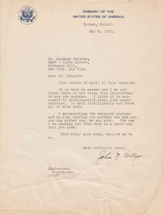 "Typed Letter, Signed, ""John N. Willys"" to Seymour Halpern in response to Halpern's inquiry about the key to Willys' success. John North Willys."