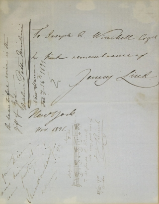"Autograph Sentiment Signed (""Jenny Lind""), to Joseph R. Winchell. Jenny Lind"