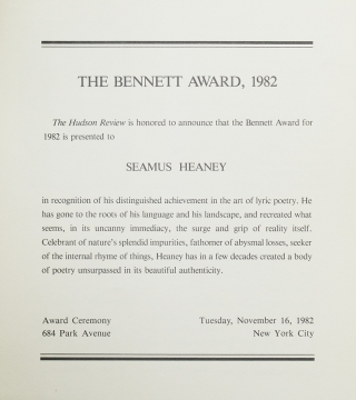 The Bennett Award, 1982 / The Hudson Review is honored to announce that the Bennett Award for 1982 is presented to SEAMUS HEANEY