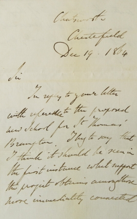 "Autograph letter signed (""Devonshire""), to Rev. John Magens Mello about a proposed new school at..."