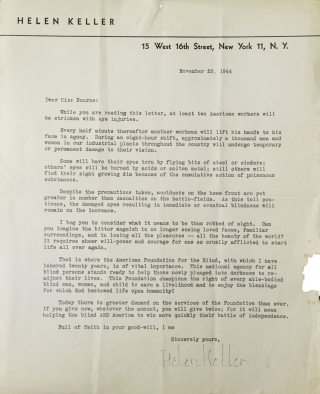 Typed letter signed secretarially, to Miss (Margie) Bourne, soliciting funds for the American...