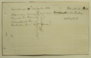 "Check signed (""Walter Scott'), in the amount of £12, to Robert Cadell Esq Bookseller. Sir Walter..."