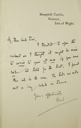 "Autograph letter signed (""Pearl""), to her ""Dear Uncle Jim"" Pearl May Teresa Craigie, aka John..."