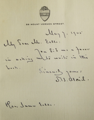 "Autograph letter signed (""T.B. Aldrich""), to Rev. James E––. Thomas Bailey Aldrich."