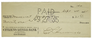 Signed check. Edgar Rice Burroughs