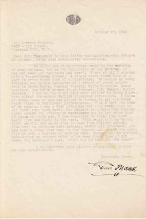 "Typed letter signed ""Louis Mann"" (to Seymour Halpern) in response to Halpern's inquiry regarding the key to success in life. American Theater, Louis Mann."