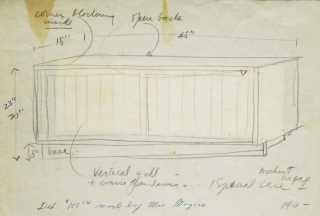 "Pencil Sketch of walnut cabinet for Nakashima with deposit of $100 by Mrs. Meyers attested to on drawing in pen. WITH: 2 page Price List for Nakashima Furniture. dated May 1, 1957. WITH: ""Notes on the Care of Furniture"" in 6 part folio fold-out, in an addressed envelope dated May, 1955"