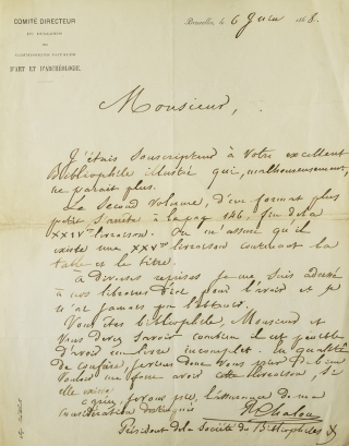 "Autograph Letter Signed (""R Chalon""), to an editor of Bibliophile Illustré (""Monsieur""). Renier..."