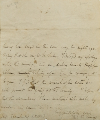 "Autograph Letter Signed (""Thos. De Quincey""), to ""My Dear Sir"" Thomas De Quincey"
