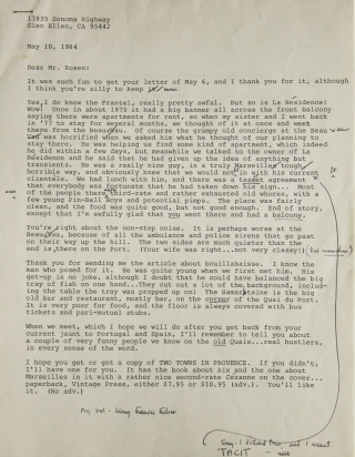 "Collection of 7 Typed Letters Signed (""Mary Frances,"" ""MFKFisher,"" ""MFKF"") to Maurice Gordon or his wife Dorothy, with and enclosed recipe for Moroccan Chermoula"
