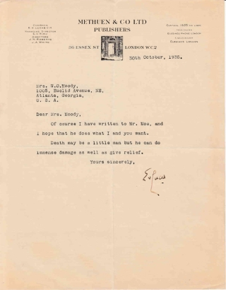 "Typed Autograph Letter Signed ""E.V. Lucas"" (Edward Verrall Lucas) to ""Mrs. Moody"" (Minnie Hite..."