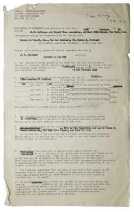 "Contract signed (""J.D. Salinger""), granting Portuguese-language publishing rights for The Catcher..."