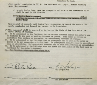"Contract signed (""J.D. Salinger""), granting Spanish-language publishing rights for The Catcher in..."
