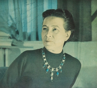 "Photograph signed (""S de Beauvoir"") and inscribed to William Targ. Simone de Beauvoir"
