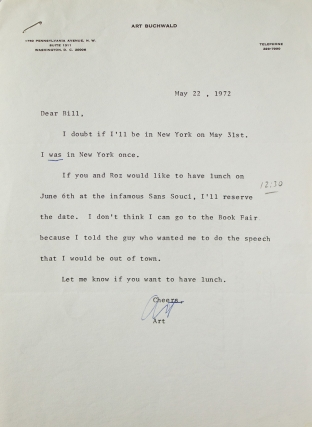 "Typed note signed (""Art""), to Putnam's editor William Targ, arranging a lunch date. Art Buchwald"