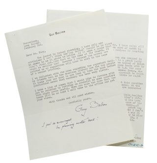 "2 typed letters signed (""Guy Bolton"") to World Publishing editor William Targ. Guy Bolton"
