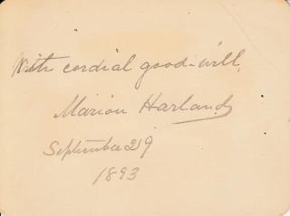 "Autograph card signed (""Marion Harland"") ""With cordial good-will"" Marion Harland"