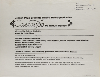 Flyer for Joseph Papp presents Mabou Mines' Production of Cascando by Samuel Beckett....Music by...