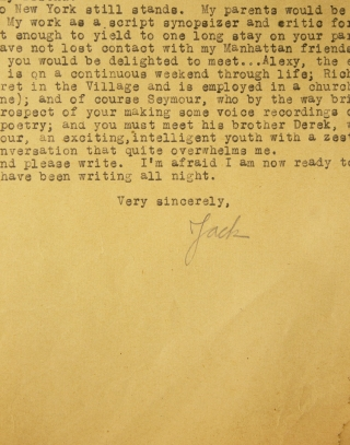 """Typed letter signed (""""Jack"""") in pencil, to Ian Macdonald"""