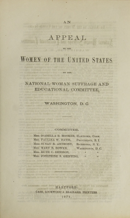 An Appeal to the Women of the United States by the National Woman Suffrage and Educational...