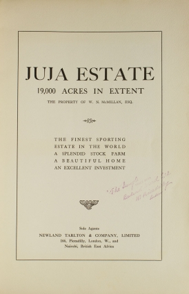 Juja Estate. 19,000 acres in extent. The property of W. N. McMillan, Esq. The finest sporting estate in the world …