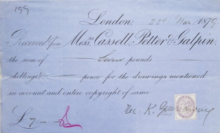 "Signed Receipt ""Rec. K. Greenaway "" from her publisher Messrs. Cassell, Petter & Galpin. Kate..."
