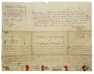 A group of 4 manuscript legal documents, deeds relating to land transactions in New York. New York, Petrus Stuyvestant.