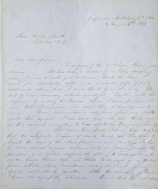 """Autograph letter signed (""""John Brown, Jr."""") to Gerrit Smith, with autograph document signed, both concerning land in Essex County, New York"""