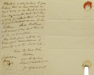 """Autograph letter signed """"W. Wordsworth"""" to Elizabeth Fox, Lady Holland, acknowledging her donation to the Grasmere orphans"""