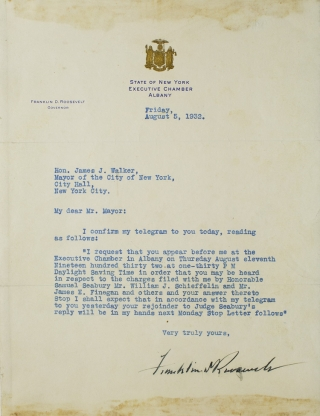 "Typed letter signed (""Franklin D Roosevelt"") as Governor of New York, to New York City Mayor..."